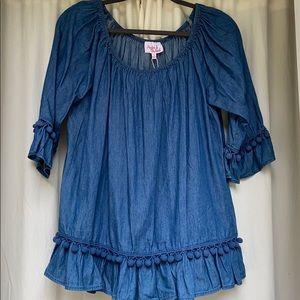 Hester & Orchard strapless denim blouse